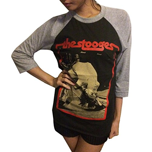 Jigg And Roll Men's The Stooges T-Shirt 3/4 Sleeve Baseball Large Black/Grey