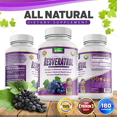 51dKbdx7y6L - 100% Pure Resveratrol 1000mg Per Serving Max Strength 180 Capsules Antioxidant Supplement Extract Natural Trans-Resveratrol Pills for Heart Health and Weight Loss Made in USA