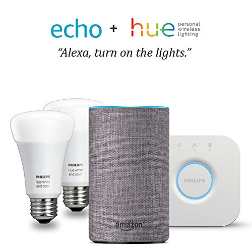 Echo (2nd Gen) - Heather Gray with Philips Hue White and Color Smart Light Bulb Starter Kit