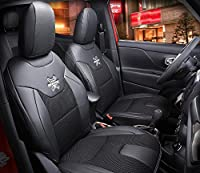 Nicebee 2pcs Front Seat Cover + 1pcs Back Seat Cover + 2pcs waist pillows + 2pcs neck pillows Leather Car Seat Cover for Jeep Renegade 2016?Black?