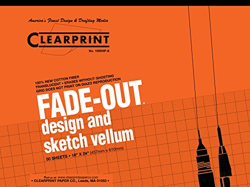Clearprint 1000H Design Vellum Pad with Printed Fade-Out 8x8 Grid, 16 lb, 100% Cotton, 18 x 24 Inches, 50 Sheets, Translucent White, 1 Each (10002422)