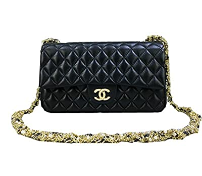 Braun Chanel black leather handbag shoulder bag chain