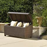 Lima Ottoman / Deck Box, All-weather Woven Wicker, Iron Frame Construction, Multi-Brown