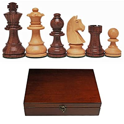 French Staunton Wood Tournament Chess Pieces, Heavy Weighted with Deluxe Wooden Treasure Box - 3.75 Inch King