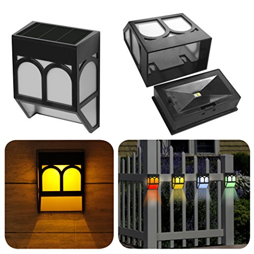 (Upgrade Solar Powered Wall Mount Lights Landscape Garden Yard Fence Outdoor Lights Warm Color Changing (4))