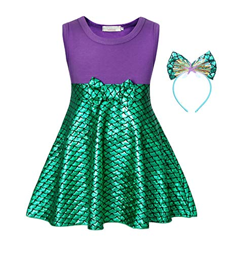 Cotrio Sleeveless Little Mermaid Dress Up Ariel Princess Costume Girls Fancy Party Dresses Halloween Cosplay Outfits with Headband Size 12 (7-8 Years, Purple+Green, 150)]()