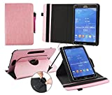 Emartbuy i-INN COMMUNICATOR 7-3G 7 Inch Tablet Universal (7-8 Inch) Baby Pink Premium PU Leather 360 Degree Rotating Stand Folio Wallet Case Cover + Pink Stylus