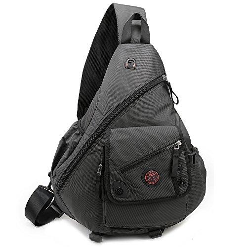 DDDH 15.6inch Sling Bags Laptop Crossbody Backpack Chest Shoulder Pack School Book Bag For Men Outdoor Hiking Bike Business (Black)