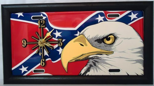 """1 , Quartz Clock, on a, """" BALD EAGLE, on, REBEL, CONFEDERATE, DIXIE, FLAG """", Metal Signs, Framed, by a, Black, Wood Frame,,31A6.4&17A4.0"""
