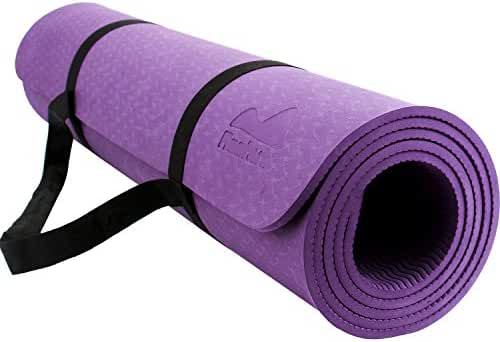 Reehut 1/4-Inch High Density TPE Exercise Yoga Mat for Pilates, Fitness & Workout with Velcro Strap