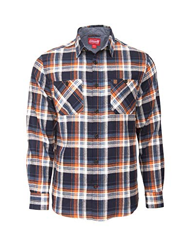 Coleman Cotton Flannel Shirts for Men Comfy and Stylish (Large, Navy ()