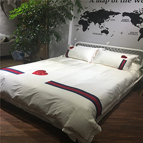 Svetanya Red Love Heart Duvet Cover Set Flat Sheet Pillow Cases 800TC 100% Soft Egyptian Cotton Fabric Embroidery Bedding Sets Queen Size