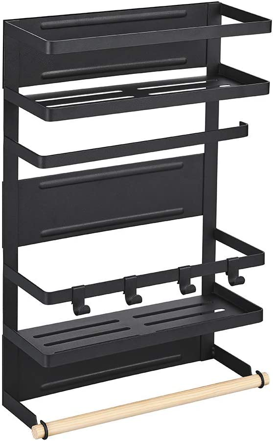 Magnetic Kitchen Refrigerator Organizer Rack 3 Tier Rustproof Spice Rack with Metal Hooks Carbon Steel Black