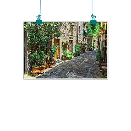 (Warm Family Tuscan Modern Oil Paintings Doorway to Tuscan House Build with Cobblestone with Many Flowering Plants Canvas Wall Art 47