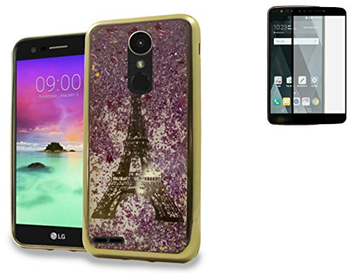 Tempered Glass+Waterfall Chrome Motion Liquid Quicksand Glitter Flexible Rubber Case Cover with Image For LG Stylo 3 / Stylo 3 Plus / Stylus 3 Phone (Gold Paris - Tower Images Water