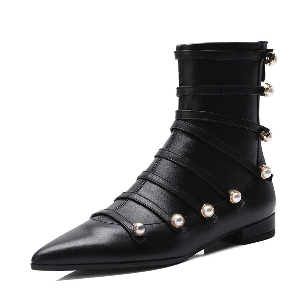 HRN Frauen Stiefelies Leder Spitze niedrige Ferse Schuhe Seite Reißverschluss Perle dekorative Stiefeletten Europa und Amerika Herbst,34EU