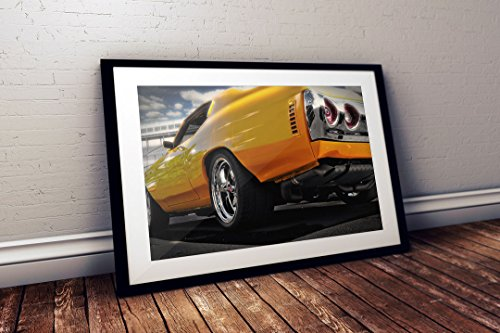 GearHeadzHD 1973 Chevy Chevelle SS -Yellow Staging Muscle Car Wall Art Decor Print Poster (24x36)