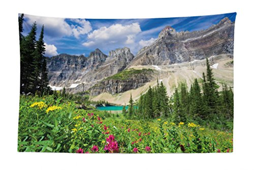 (Lunarable Nature Tapestry, North Montana Mountains with A Creek Meadow Spring Rural Lake Pine Trees Scenery, Fabric Wall Hanging Decor for Bedroom Living Room Dorm, 45 W X 30 L inches, Multicolor)