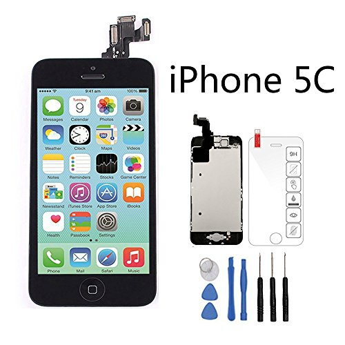 (Full Assembly Screen Replacement for iPhone 5C Black LCD Display Touch Digitizer with Home Button, Front Camera, Ear Speaker, Repair Tools and Screen Protector)