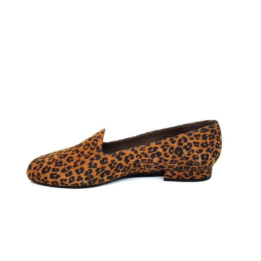 GENNIA CEONLISO Leopardo - Mocasines para Mujer de Cuero y con Mini Tacón de 2 cm: Amazon.es: Zapatos y complementos