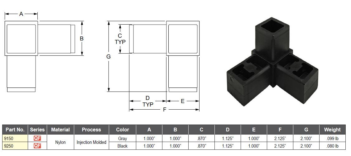 80//20 Inc. Black Nylon 9250 Quick Frame 3 Way Corner Connector