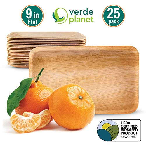 Verde Planet - 9 inch Flat Rectangular Palm Leaf Trays - Biodegradable, Ecofriendly, Disposable, Sturdy, Elegant, Premium Quality Plates, USDA Certified - 25 Count