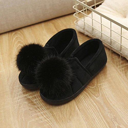 Lanhui Womens Cute Indoor Slippers Hairball Anti-slip Zachte Zwangere Vrouwen Schoenen Zwart