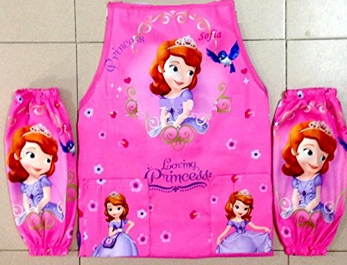 CJB Sofia the First Princess Kids Waterproof Apron Sleeves Set Pink Purple 5-14T (US Seller) (Pink Gift Set Apron)