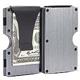 Slim Wallet for Men, RFID Carbon fiber Front Pocket Wallet, Black Minimalist Wallet (Black-02)