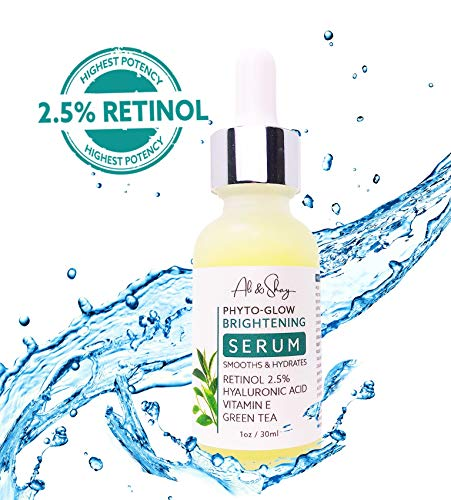 Ali & Shay Brightening Retinol Facial Serum 2.5% - Dark Spot Lightener, Acne & Wrinkle Reducer - Anti Aging Green Tea + Vitamin E + Aloe + Hyaluronic Acid - Organic Face Moisturizer for Men & Women ()