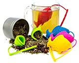 Silicone Tea Infuser Reusable BPA-Free Cute Animal Eco-Friendly Strainer Set of 5 PCS Colors Fish Loose Leaf Tea Steeper Heat Resistant Up To 480F Perfect Tea Lovers Gift