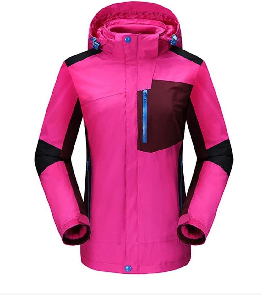 女性のカラフルなスキージャケットとズボンセット 2ピース取り外し可能な防水服登山スキー釣り服 防風 (色 : ローズレッド, サイズ : XXL) ローズレッド XX-Large