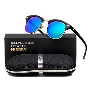 NIEEPA Semi Rimless Polarized Sunglasses Classic Brand Sun Glasses With Metal Retro Rivets (Green Lens/Bright Black Frame)