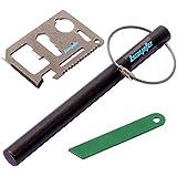 bayite 6 Inch X 1/2 Inch Drilled Ferrocerium Rod Steel Flint Fire Starter with Striker Wire Keychain Multi Tool Card