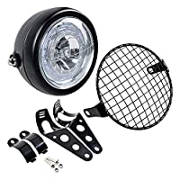 "Completed Set 6 1/2"" LED Headlight with Halo Ring + Mesh Grill Cover + Side Mount Bracket"
