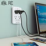 Dewenwils 4 Outlet Wall Mount Adapter Surge Protector with Dual USB Ports (2.4A/Port, 3.1A Total), Multi Plug Outlet Extender USB Charger, 1080 Joules, ETL Listed