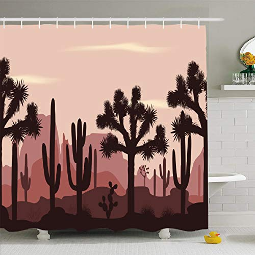 Palm Desert Shower Curtain - Ahawoso Shower Curtain 66x72 Inches Cloud Desert Joshua Trees Opuntia Brevifolia Mexican Pattern Sunset Cacti Design Waterproof Polyester Fabric Set with Hooks
