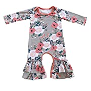 Cilucu Romper for Baby Girls Newborn Gown Infant Ruffle Cotton One-pieces Clothing Floral Outfits Pink Flower 6-12 months