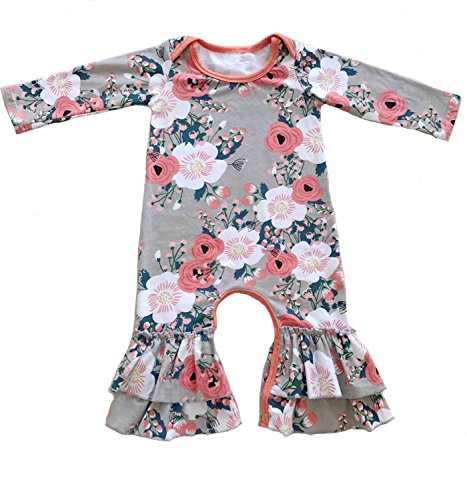 Cilucu Romper for Baby Girls Newborn Gown Infant Ruffle Cotton One-pieces Clothing Floral Outfits Pink Flower 0-6 - Shirts Water Acid