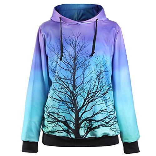 THENICE - Sudadera con capucha - Manga Larga - para mujer Moonlight Tree