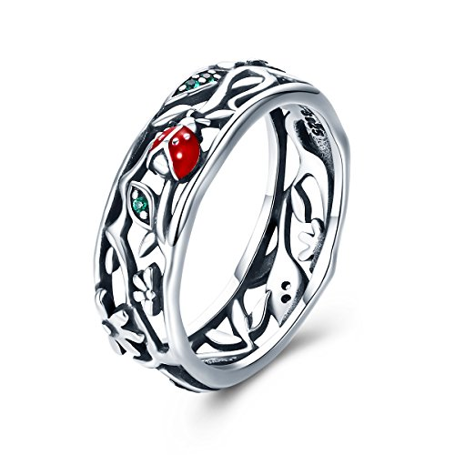 (WOSTU Vintage Sterling Silver Filigree Leaf and Ladybug Wide Rings Womens Layering Rings Novelty Jewelry)