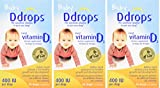 Ddrops xFDCGW Baby 400 IU, Vitamin D, 90 drops 2.5mL, 3 Pack