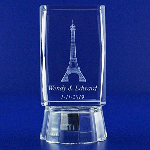 Wedding Reception (12 PCS) Bridal Shower Quinceañera Personalized Custom Laser Engraving 3D Eiffel Towers Theme Crystal Glass (3