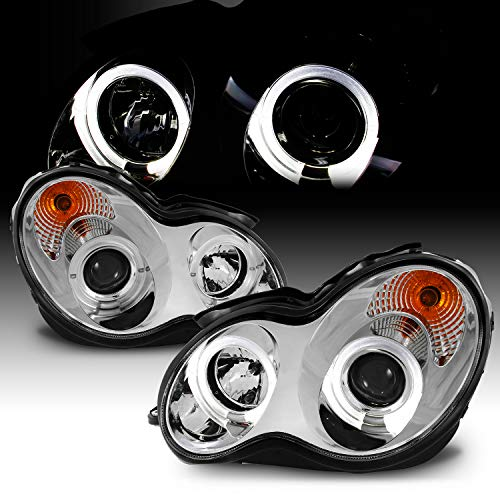 (For 2001-2007 Benz W203 C-Class 4Doors Sedan Wagon Chrome Clear LED [Dual Halo Projector] Projector Headlights LH+RH)