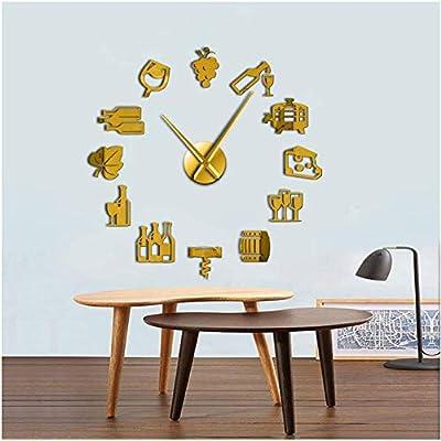 Acykm Acrylic Wall Clock Cheese And Wine Modern Kitchen Art
