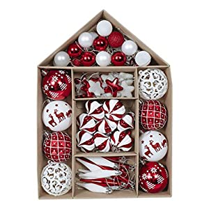 Best Epic Trends 51dKg18DHbL._SS300_ Valery Madelyn 70ct Traditional Red and White Shatterproof Christmas Ball Ornaments Decoration, Themed with Tree Skirt…