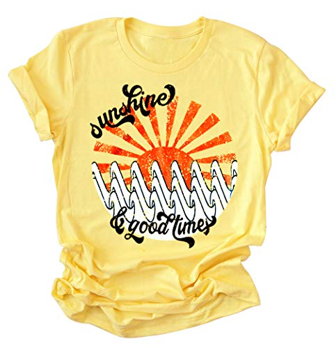 - Women Short Sleeve T Shirt Sunshine Good Times Letter Print Graphic Blouse Top (L, Yellow)