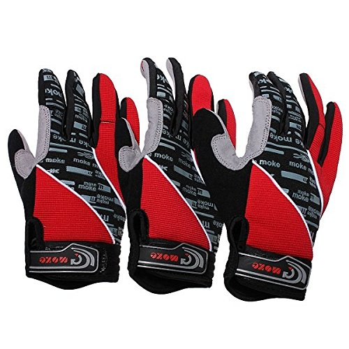 Pink Lizard Red Motorcycle Motorbike Sports Gel Silicone Full Finger Warm Gloves