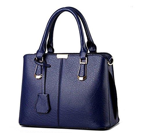Bolso Piel Mujer con Brillante blue Superior asa Piel Shining sintética Hombro de Rosa de Royal Bright sintética para 30x15x37cm Ox5qw7R