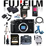 Fujifilm X-Pro2 XPRO2 Body Professional Mirrorless Camera w/ Sony 64GB SDXC Class 10 + Flash + Tripod + Flexpod + Case + 2 BT + Charger + Cleaning Kit + Card Reader + Bluetooth speaker